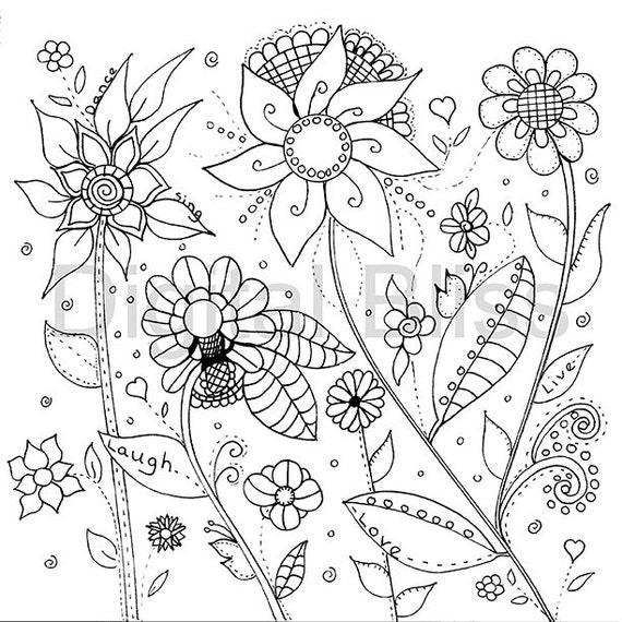 Adultos para colorear páginas diseño de flores silvestres | Etsy