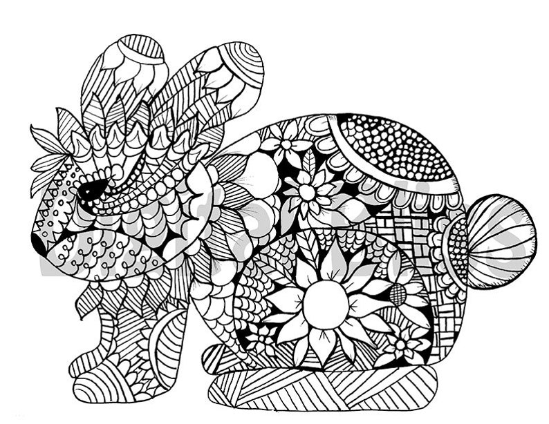 Adult coloring Download Whimsical Bunny Adult Coloring ...
