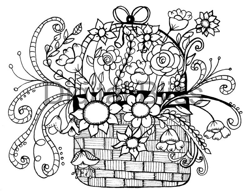 Adult Coloring Pages Whimsical Basket Of Flowers Design Etsy