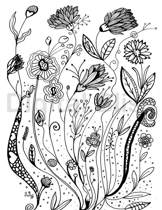 Adult Coloring Pages Whimsical Wild Flowers Design Adult Etsy