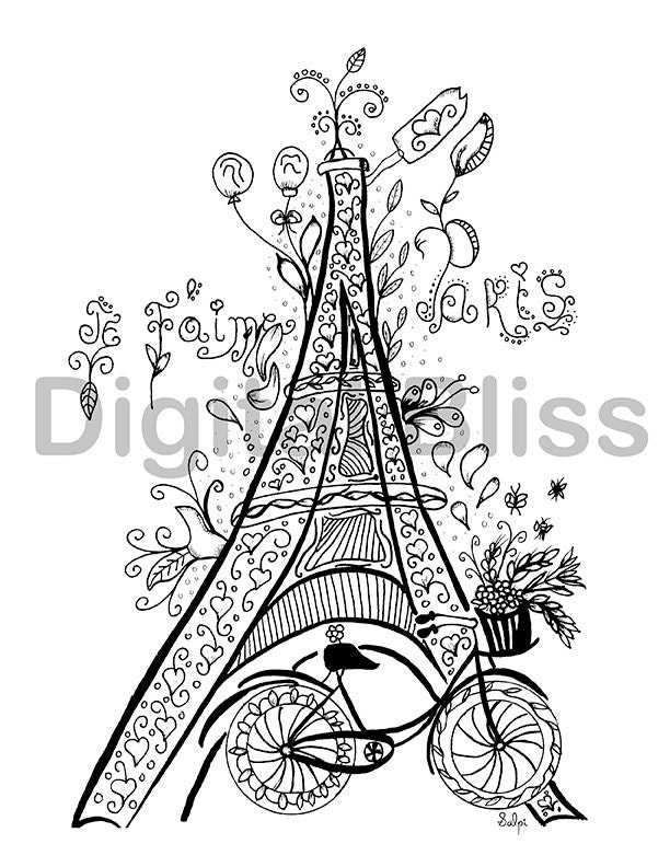 Whimsical Eiffel Tower Adult Coloring Page Je t\'aime | Etsy