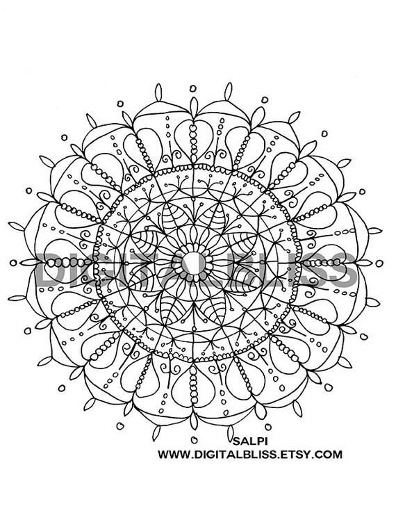 Adulto para colorear Mandala del corazón página instantánea | Etsy