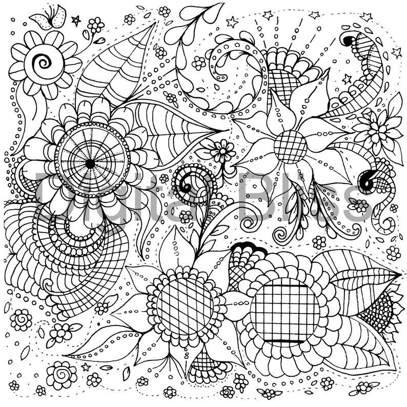 Adultos Dibujos Para Colorear Flores Caprichosas Y Remolinos Diseño Página De Adultos Para Colorear Descarga Inmediata Los Niños Colorear
