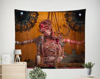 Steampunk Woman Wall Tapestry, Pinhead Horror Movie Decor, Halloween Tapestry, Metropolis Goth Lady Gothic Wall Hanging Sexy Lady Industrial