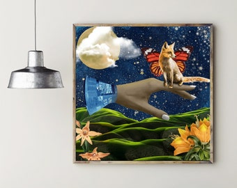 Outer Space Nature, Surreal Collage Giclee Print, Elevate Nature Through Science, Surreal Fox and Rocket, Moon Wall Art