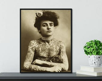 Feminist Art, Lydia the Tattooed Lady Poster, Dorm Decor, Framed Vintage Decor, Badass Woman, World Traveler, Woman Poster, Feminist Decor