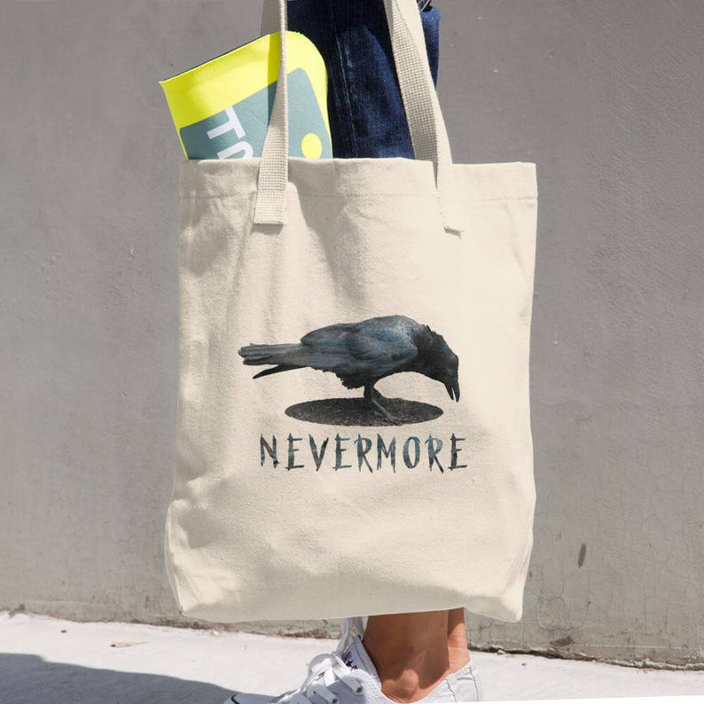 8093b0d281 The Raven Nevermore Heavy Duty Tote Bag Durable Shopping