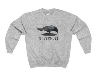 Nevermore Poe's Raven Unisex Crewneck Sweatshirt, Raven Sweatshirt, Edgar Allan Poe, Crow Sweatshirt, Raven Top, Fuzzy Sweatshirt