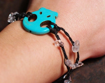 Turquoise Skull and Crystals Bracelet, Halloween Theme, Silver Skull, Waxed Linen, Unisex Jewelry, Southwest Inspired
