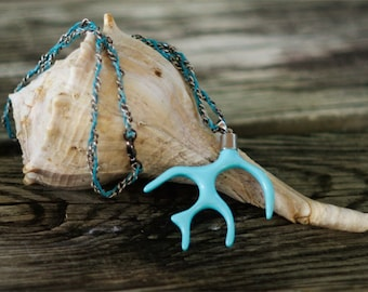 Blue Coral Branch Necklace, Tree Branch or Antler Pendent, Nautical Beach Necklace, Linen Chain