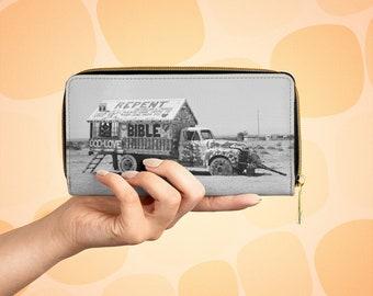 Salvation Mountain Vegan Leather Zipper Wallet, God is Love, Salton Sea, Slab City, Punk Purse Accessory, Vintage Truck
