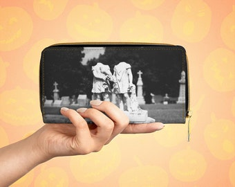 Gothic Headstone Vegan Leather Zipper Wallet, Headless Twins, Graveyard, Cemetery Art, Halloween Purse, Clutch