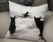 Black Cat Throw Pillow, Halloween Cats Pillow Case, Black and White Decor, Fun Halloween Samhain All Hallows Eve Egyptian Cats