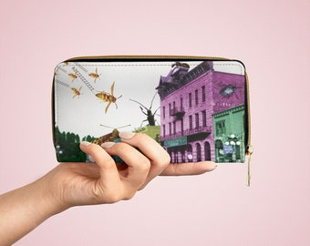 Insect Attack Collage Vegan Leather Zipper Wallet, Photocollage Art, Faux Leather Purse