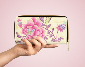 Victorian East Vegan Leather Zipper Wallet,  Floral Pattern, Scrapbook Collage, Gift for Mom, Pink Flower Tattoo Flash