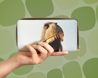 Angry T-Rex Vegan Leather Zipper Wallet, Dinosaur California Roadside Attraction, Cabazon Dinosaurs
