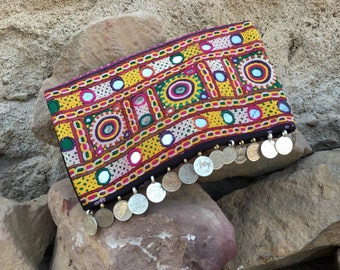 Indian clutch bag , a boho evening clutch that will carry any urban bohemian woman's essentials , a coin bag in a handy sac design!