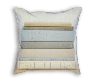 Book Pillow Cover, Book Pillowcase, Book Decor, Stacked Books Pillow, Book Lover Gift, Book Gift Idea, Reading Pillow, Library Pillow