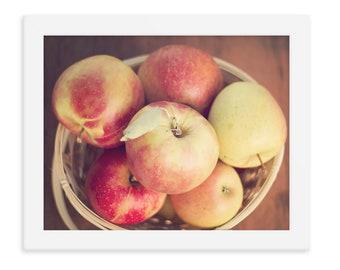 Apple Photography Print, Still Life Apple Print, Rustic Kitchen Art, Red Apple Art, Apple Decor, Farm Kitchen Print, Rustic Farmhouse Art