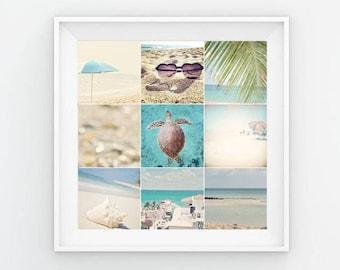 Beach Collage Print, Beach Gallery Art, Beach Photography, Beach Aesthetic, Beach Mood Board, Beach Poster, Ocean Collage, Beach Gallery