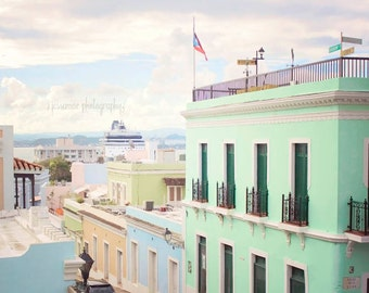 San Juan Photography, San Juan Puerto Rico, Puerto Rico Photography, City Print, Travel Art, Old San Juan, Colorful Houses Art, Travel Print