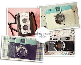Camera Print ,Retro Camera Art, Vintage Camera Wall Art, Set of Four Prints, Camera Print, Camera Wall Art, Diana Camera Print, Camera Decor