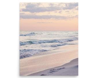 Pink Sunset Wall Art, Beach Sunset Photography, Pink Sunset Beach Print, Pink Beach Art, Large Sunset Beach Art Print, Ocean Sunset Photo