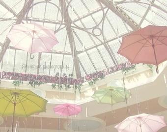 Umbrella Art, Pastel Nursery Art, Pastel Pink Nursery Decor, Whimsical Umbrella Print, Pastel Wall Art, Pastel Nursery Print, Girl Nursery