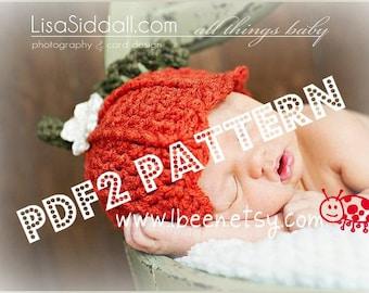 PDF2 crochet pumpkin hat pattern - 7 sizes included