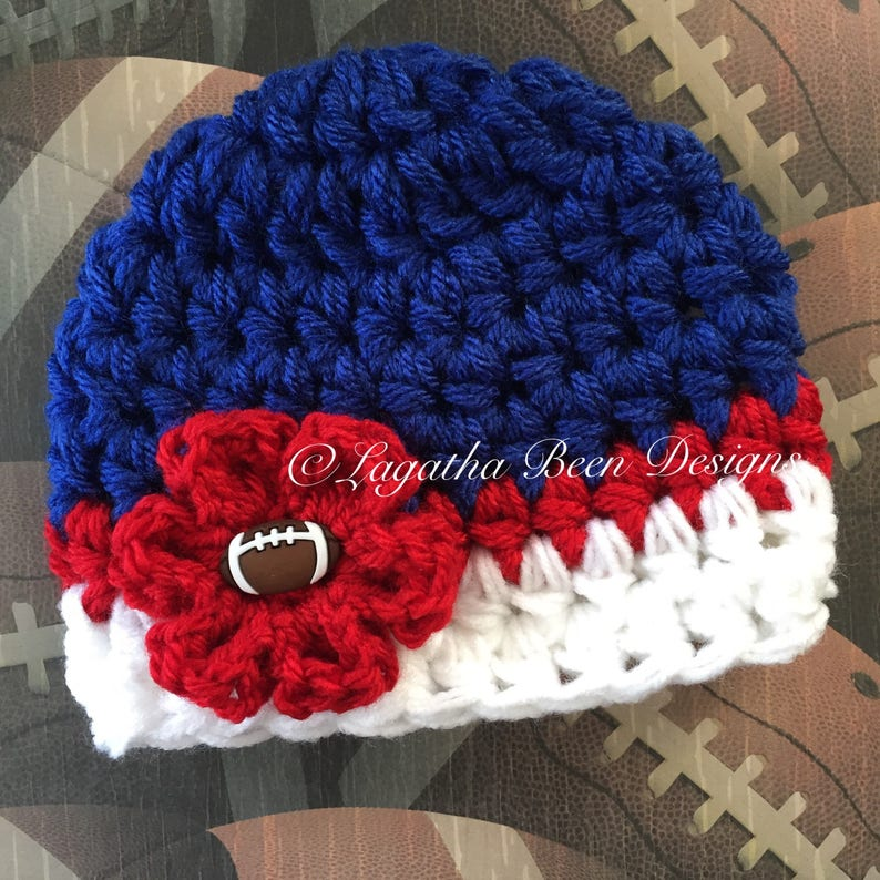 0116bde8 Buffalo Bills or NY Giants inspired baby hat - sports props - team sports