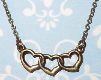 Vintage Inspired 'INTERTWINED HEARTS' Romantic Necklace in Antiqued Brass - Love Hearts - Antique Gold