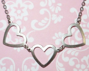 Vintage Inspired 'THREE LOVE HEARTS' Romantic Necklace in Antiqued Silver - Love Hearts - Antique Silver