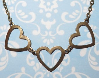 Vintage Inspired 'THREE LOVE HEARTS' Romantic Necklace in Antiqued Brass - Love Hearts - Antique Gold