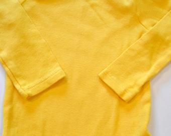Golden Yellow Onesie, Hand Dyed, Baby, Toddler, Bodysuit, DIY Minion, Pikachu, Charlie Brown, Flounder, Halloween Costume Base, Long Sleeve
