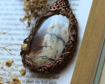 Autumn Agate Necklace, Witch Nature Agate Lace Pendant, Boho Jewelry, Woodland Agate Necklace. Gift for Her