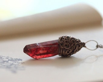 Frozen Blood Crystal Necklace, Healing Necklace, Copper Rustic Red Crystal Pendant, Healing Jewelry, Boho Crystal Necklace