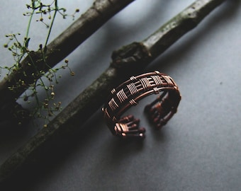 Mens Ring, Copper Rustic Ring for Him, Gift for Men, Mens Jewelry, Woodland Copper Mens Ring