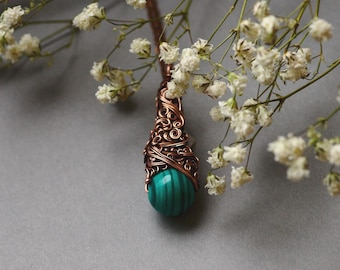 Malachite Necklace, Wire Wrapping Copper Jewelry, Green Malachite Pendant, Gift for Her, Green Malachite Necklace