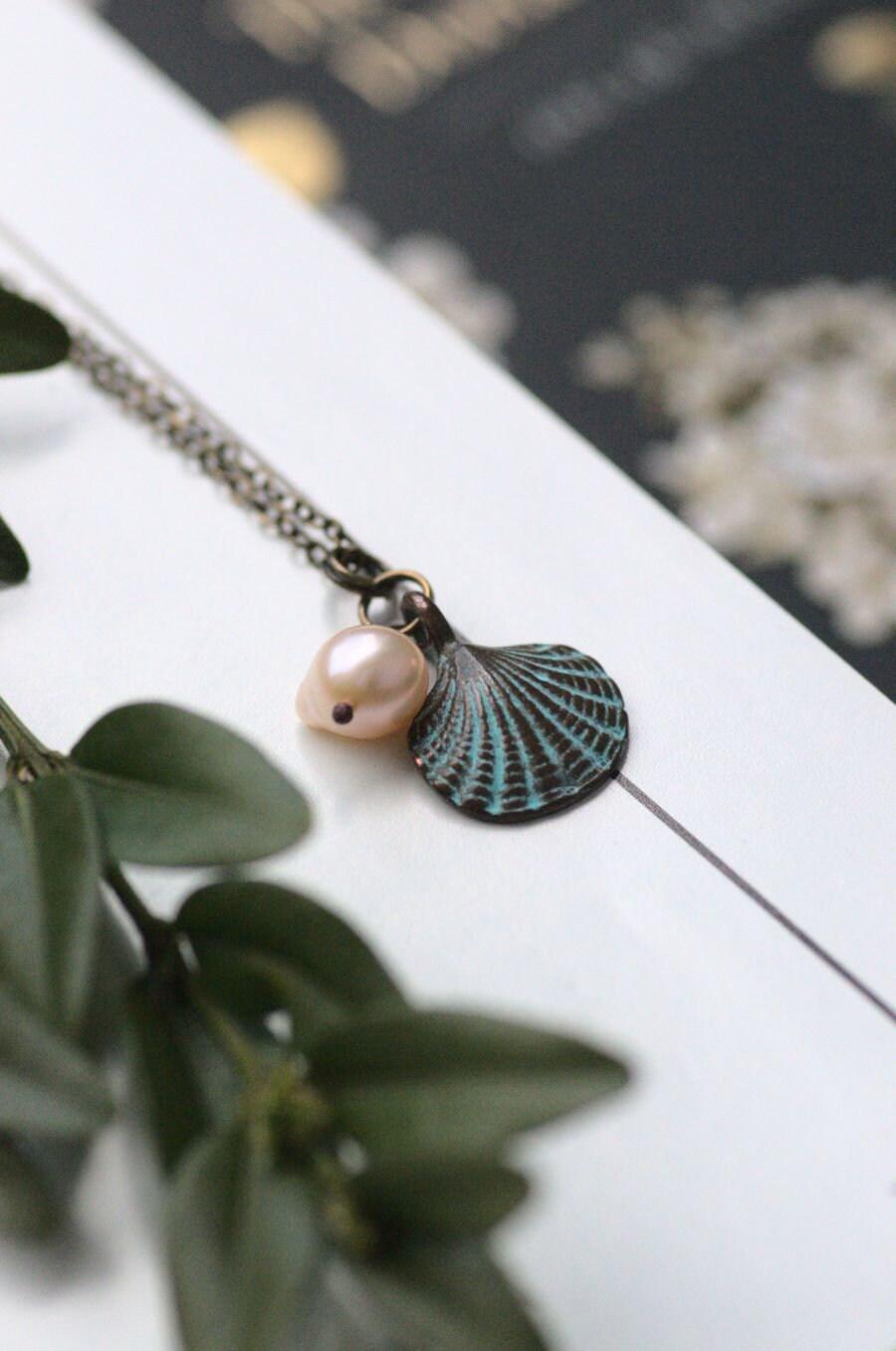 muschel halskette mit süßwasser perle sommer boho schmuck