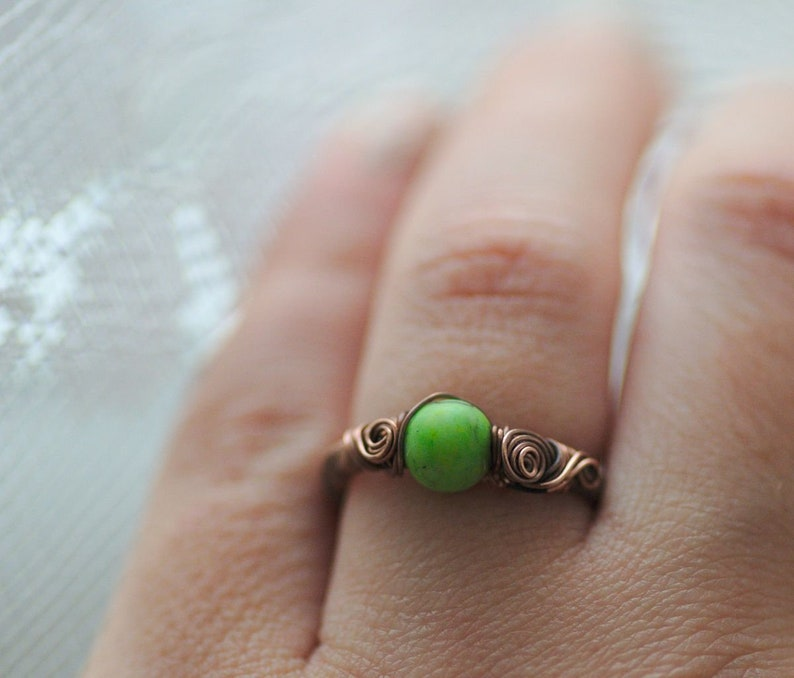 Gift for Vegan Green Grass Gemstone Ring Fresh Green Wire Wrapped Ring US size 6.5 Bohemian Style Nature Jewelry