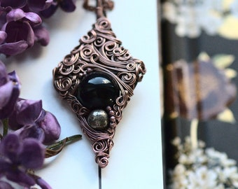 Black Onyx and Pyrite Necklace, Celtic Inspired Wire Wrapped Copper Necklace, Morrigan Collection