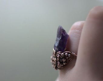 Raw Amethyst Crystal Ring, US size  6,5, Bohemian Witch Natural Jewelry, Wire Wrapped Copper Ring, Gift for Women