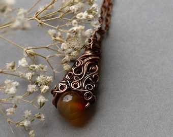 Brown Agate Necklace, Elvish Nature Necklace, Delicate Copper Pendant, Boho Jewelry, Woodland Agate Necklace