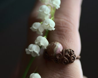 Pink Rhodochrosite Ring US size 7, Natural Pink Gemstone Ring, Wire Wrapped Rhodochrosite Jewelry