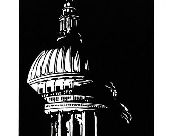 St Paul's Cathedral, London - Handprinted / Hand pulled Linocut - Edition of 250
