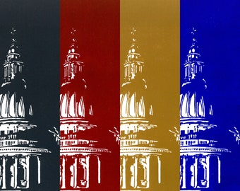 St Paul's Cathedral, London (Blue / Red / Yellow / Grey) - Handprinted / Hand pulled Linocut - Edition of 25 (per colour)