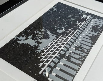Lauderdale Tower (with Grey sky), Barbican, London - Handprinted Linocut - Edition of 25