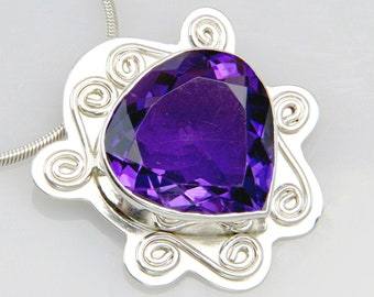 Statement Genuine Amethyst Pendant - Solid Sterling Silver Gemstone Necklace - February Birthstone - Made in the USA by Me - FREE SHIPPING