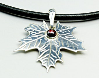 Garnet Maple Leaf Choker Pendant