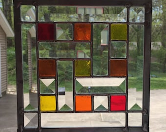 Christmas Quilt Stained Glass Panel Etsy